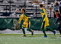 13 November 2019: University of Vermont Catamount Forward JoJo Moulton-Condiotti, a Freshman from Brooklyn, NY, in action against the University of Hartford Hawks at Virtue Field in Burlington, Vermont. The Catamounts fell to the visiting Hawks 3-2 in sudden death overtime of the Division 1 Men's Soccer America East matchup. Mandatory Credit: Ed Wolfstein Photo *** RAW (NEF) Image File Available ***