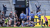 18th April 2021 2021; Recreation Ground, Bath, Somerset, England; English Premiership Rugby, Bath versus Leicester Tigers; Referee Luke Pearce indicates a try to Bath in the last 10 minutes of the match