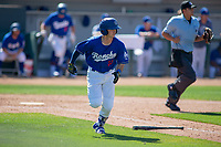 Rancho Cucamonga Quakes Connor Wong (33) hustles down the first base line against the Lake Elsinore Storm at LoanMart Field on May 28, 2018 in Rancho Cucamonga, California. The Storm defeated the Quakes 8-5.  (Donn Parris/Four Seam Images)