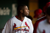 Xavier Scruggs (15) of the Springfield Cardinals looks out towards the field from the dugout during a game against the Northwest Arkansas Naturals at Hammons Field on August 20, 2013 in Springfield, Missouri. (David Welker/Four Seam Images)