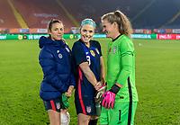BREDA, NETHERLANDS - NOVEMBER 27: Kelley O'Hara #5, Julie Ertz #8 and Alyssa Naeher #1 of the USWNT pose of a photo after a game between Netherlands and USWNT at Rat Verlegh Stadion on November 27, 2020 in Breda, Netherlands.