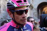 Filippo Pozzato (ITA) Lampre-Merida team at sign on before the start of the Strade Bianche Eroica Pro 2015 cycle race 200km over the white gravel roads from San Gimignano to Siena, Tuscany, Italy. 8th March 2015<br /> Photo: Otto de Waele/www.newsfile.ie