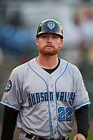 Hudson Valley Renegades coach Sean Smedley (22) during a game against the Auburn Doubledays on September 5, 2018 at Falcon Park in Auburn, New York.  Hudson Valley defeated Auburn 11-5.  (Mike Janes/Four Seam Images)