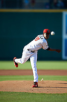 Lansing Lugnuts pitcher Juan De Paula (29) during a Midwest League game against the Burlington Bees on July 18, 2019 at Cooley Law School Stadium in Lansing, Michigan.  Lansing defeated Burlington 5-4.  (Mike Janes/Four Seam Images)
