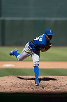 Kansas City Royals relief pitcher Franco Terrero (49) follows through on his delivery during an Instructional League game against the Arizona Diamondbacks at Chase Field on October 14, 2017 in Scottsdale, Arizona. (Zachary Lucy/Four Seam Images)