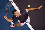BANGKOK, THAILAND - OCTOBER 02:  Guillermo Garcia-Lopez of Spain serves against compatriot Rafael Nadal during the Day 8 of the PTT Thailand Open at Impact Arena on October 2, 2010 in Bangkok, Thailand. Photo by Victor Fraile / The Power of Sport Images