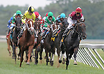 1 August 10: The field for the Taylor Made Matchaker Stakes goes into the Clubhouse Turn on Haskell Invitational Day at Monouth Park in Oceanport, New Jersey