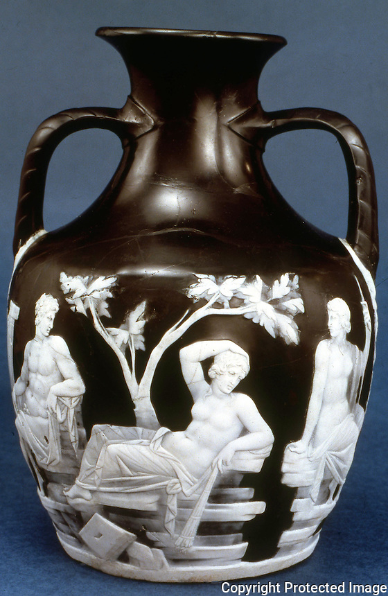 Greek Art:  The Portland Vase--Thetis reclining between Mercury and Venus, glass.  1st century A.D.  Trustees of the British Museum.