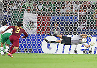 Portugal keeper Ricardo (1) makes a dramatic save. Portugal defeated Mexico 2-1 in their FIFA World Cup Group D match at FIFA World Cup Stadium, Gelsenkirchen, Germany, June 21, 2006.