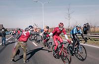 Marco Mathis (DEU/Katusha-Alpecin) in the feedzone<br /> <br /> Omloop Het Nieuwsblad 2018<br /> Gent › Meerbeke: 196km (BELGIUM)