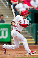 Adam Melker (26) of the Springfield Cardinals at bat during a game against the Arkansas Travelers at Hammons Field on May 8, 2012 in Springfield, Missouri. (David Welker/ Four Seam Images)