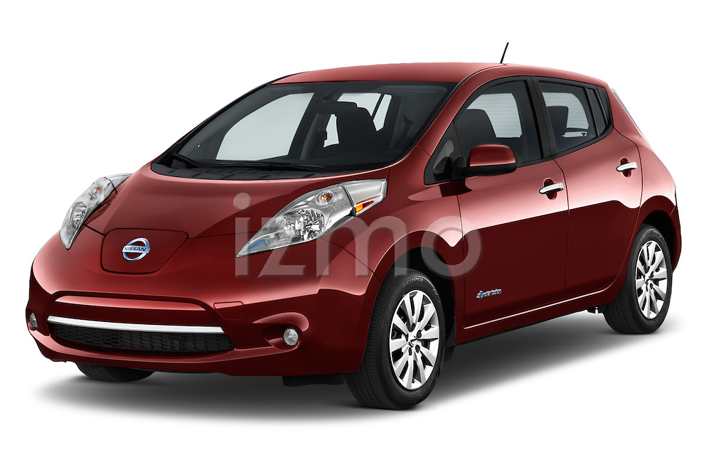 2017 Nissan LEAF S 5 Door Hatchback Angular Front stock photos of front three quarter view