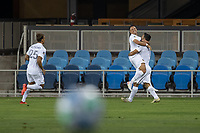 SAN JOSE, CA - OCTOBER 03: Javier Hernandez #14 and Sebastian Lletget and Rolf Fletcher #17 of the LA Galaxy celebrate a goal during a game between Los Angeles Galaxy and San Jose Earthquakes at Earthquakes Stadium on October 03, 2020 in San Jose, California.