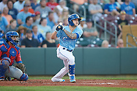 Omaha Storm Chasers Kyle Isbel (3) hits a home run during a game against the Iowa Cubs on August 14, 2021 at Werner Park in Omaha, Nebraska. (Zachary Lucy/Four Seam Images)