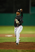 Batavia Muckdogs relief pitcher Luis Mojica (30) delivers a pitch during a game against the West Virginia Black Bears on June 18, 2018 at Dwyer Stadium in Batavia, New York.  Batavia defeated West Virginia 9-6.  (Mike Janes/Four Seam Images)