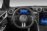 Car pictures of steering wheel view of a 2022 Mercedes Benz C-Class AMG-Line 5 Door Wagon Steering Wheel