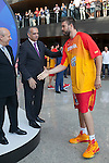 Jose Luis Saez greets Marc Gasol during the official presentation of Spain´s basketball team for the 2014 Spain Basketball Championship in Madrid, Spain. July 24, 2014. (ALTERPHOTOS/Victor Blanco)
