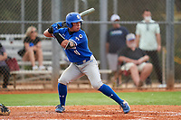 Indiana State Sycamores Diego Gines (11) bats during the teams opening game of the season against the Pitt Panthers on February 19, 2021 at North Charlotte Regional Park in Port Charlotte, Florida.  (Mike Janes/Four Seam Images)