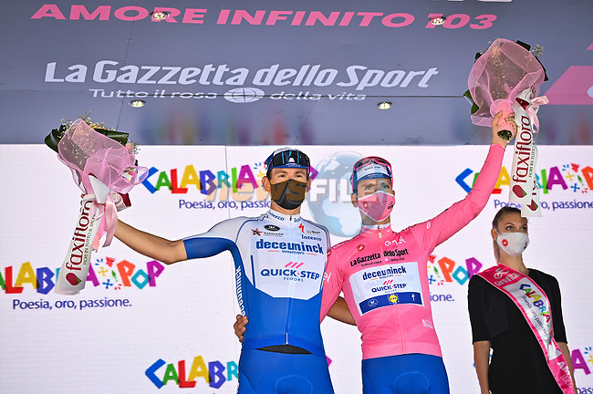 Race leader Joao Almeida (POR) Deceuninck-Quick Step retains the Maglia Rosa and leading team at the end of Stage 7 of the 103rd edition of the Giro d'Italia 2020 running 143km from Matera to Brindisi, Sicily, Italy. 9th October 2020.  <br /> Picture: LaPresse/Massimo Paolone | Cyclefile<br /> <br /> All photos usage must carry mandatory copyright credit (© Cyclefile | LaPresse/Massimo Paolone)