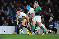 Mike Brown, FEBRUARY 27, 2016 - Rugby : Mike Brown of England scores a try as Jack Nowell of England supports during the RBS 6 Nations match between England and Ireland at Twickenham Stadium, London, United Kingdom. (Photo by Rob Munro)