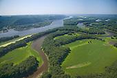 Mississippi River at Lansing Iowa near Prairie du Chien Illinois. Aerial view north