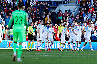Slovakia players protest to referee Felix Zwayer who shows a yellow card, after ending the game after an alleged hand ball by a Wales player during the UEFA EURO 2020 Qualifier match between Wales and Slovakia at the Cardiff City Stadium, Cardiff, Wales, UK. Sunday 24 March 2019
