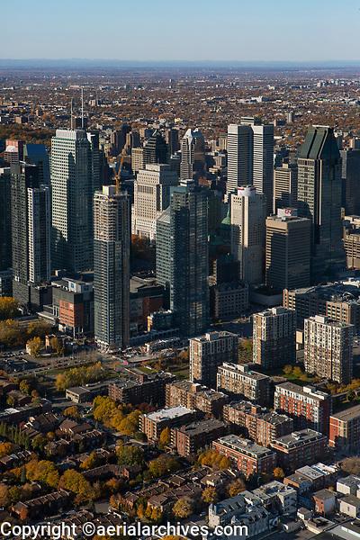 aerial photograph of the financial district in Montreal, Quebec, Canada in the fall | photographie aérienne du quartier financier à Montréal, Québec, Canada à l'automne