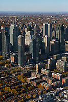 aerial photograph of the financial district in Montreal, Quebec, Canada in the fall | photographie aérienne du quartier financier à Montréal, Québec, Canada à l'automne