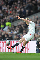 Owen Farrell (c) of England kicks a conversion during the Guinness Six Nations match between England and Wales at Twickenham Stadium on Saturday 7th March 2020 (Photo by Rob Munro/Stewart Communications)