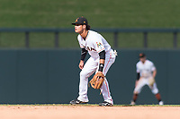 Salt River Rafters shortstop Bryson Brigman (15), of the Miami Marlins organization, during an Arizona Fall League game against the Surprise Saguaros at Salt River Fields at Talking Stick on October 23, 2018 in Scottsdale, Arizona. Salt River defeated Surprise 7-5 . (Zachary Lucy/Four Seam Images)