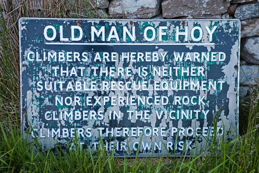 Warning sign, Isle of Hoy, Orkneys, Scotland