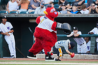 Winston-Salem Dash mascot Bolt pretends to box with a young fan between innings of the game against the Hudson Valley Renegades at Truist Stadium on August 28, 2021 in Winston-Salem, North Carolina. (Brian Westerholt/Four Seam Images)