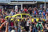 #19: Brandon Jones, Joe Gibbs Racing, Toyota Supra Menards/Turtle Wax drives to victory lane