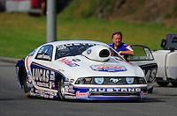 Jun. 19, 2011; Bristol, TN, USA: NHRA pro stock driver Larry Morgan during eliminations at the Thunder Valley Nationals at Bristol Dragway. Mandatory Credit: Mark J. Rebilas-