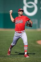 Peoria Chiefs pitcher Daniel Poncedeleon (32) throws in the outfield before a game against the Lansing Lugnuts on June 6, 2015 at Cooley Law School Stadium in Lansing, Michigan.  Lansing defeated Peoria 6-2.  (Mike Janes/Four Seam Images)