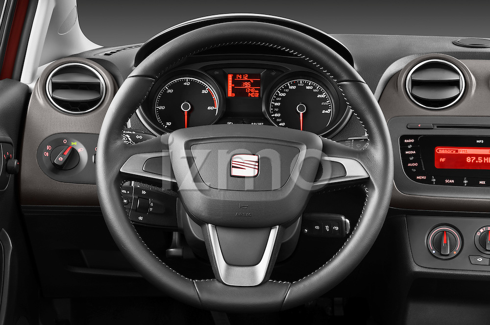 Steering wheel view of a 2013 Seat Ibiza Style Hatchback
