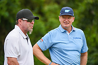April 29th 2021, The Woodlands, Texas USA;  Ernie Els chats with Houston Astros great Jeff Bagwell near the tee on 3 during the preview of the 2021 Insperity Invitational at The Woodlands Country Club on April 29, 2021 in The Woodlands, Texas.