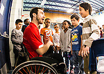 The Canadian Paralympic Committee cross country tour stops to meet students at St. Vincent de Paul school in Calgary, Alberta on Janyary 19, 2016.  Chad Jassman has some fun with the students after the presentation.