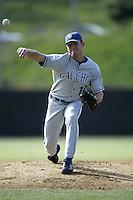 Matt Vasquez of the UC Santa Barbara Gouchos pitches during a game at Eddy D. Field Stadium on February 7, 2003 in Malibu, California. (Larry Goren/Four Seam Images)