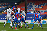 Christian Benteke of Crystal Palace win a header during the Premier League behind closed doors match between Crystal Palace and Fulham at Selhurst Park, London, England on 28 February 2021. Photo by Vince Mignott / PRiME Media Images.