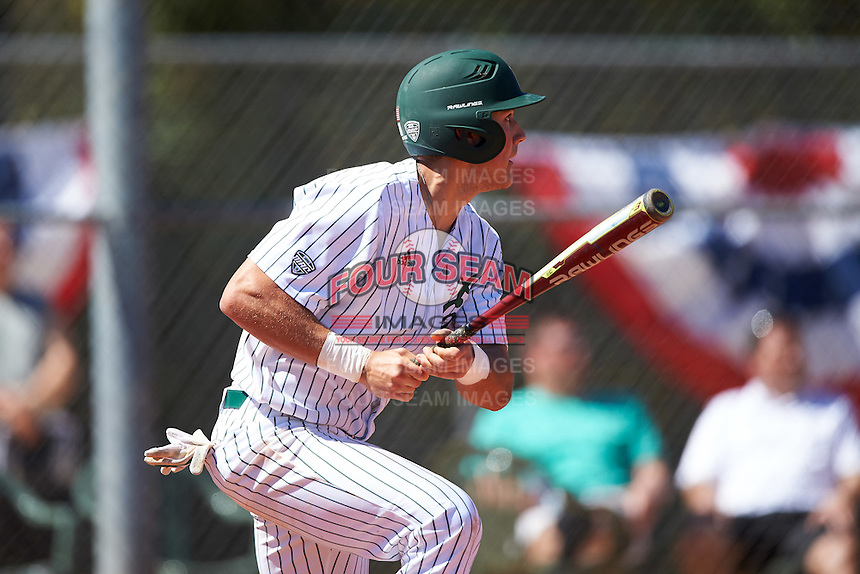 Eastern Michigan Eagles first baseman Zachary Owings (24) at bat during a game against the Dartmouth Big Green on February 25, 2017 at North Charlotte Regional Park in Port Charlotte, Florida.  Dartmouth defeated Eastern Michigan 8-4.  (Mike Janes/Four Seam Images)