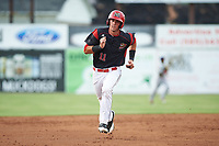 Batavia Muckdogs third baseman Tyler Curtis (11) running the bases during a game against the Auburn Doubledays on July 6, 2017 at Dwyer Stadium in Batavia, New York.  Auburn defeated Batavia 4-3.  (Mike Janes/Four Seam Images)