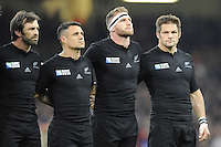 (L-R) Conrad Smith, Dan Carter, Kieran Read and Richie McCaw of New Zealand during the national anthems during Match 23 of the Rugby World Cup 2015 between New Zealand and Georgia - 02/10/2015 - Millennium Stadium, Cardiff<br /> Mandatory Credit: Rob Munro/Stewart Communications