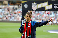 Saint Paul, MN - Tuesday September 03, 2019 : Announcer prior to the USWNT 2019 Victory Tour match versus Portugal at Allianz Field, on September 03, 2019 in Saint Paul, Minnesota.