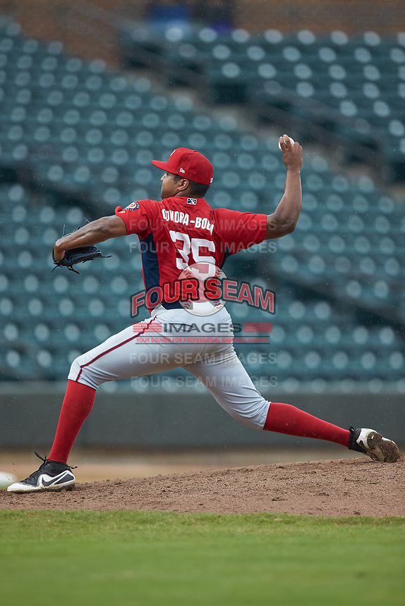Potomac Nationals relief pitcher Jacob Condra-Bogan (35) in action against the Winston-Salem Rayados at BB&T Ballpark on August 12, 2018 in Winston-Salem, North Carolina. The Rayados defeated the Nationals 6-3. (Brian Westerholt/Four Seam Images)
