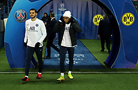 Soccer Football - Champions League - Round of 16 Second Leg - Paris St Germain v Borussia Dortmund - Parc des Princes, Paris, France - March 11, 2020  Paris St Germain's Kylian Mbappe and Mauro Icardi walk out for the warm up before the match   <br /> Photo Pool/Panoramic/Insidefoto