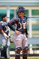 GCL Yankees East catcher Brayan Rodriguez (29) warms up on a side field during a game against the GCL Pirates on August 15, 2016 at the Pirate City in Bradenton, Florida.  GCL Pirates defeated GCL Yankees East 5-2.  (Mike Janes/Four Seam Images)