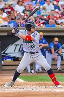Cedar Rapids Kernels outfielder Shane Carrier (38) at bat during a Midwest League game against the Wisconsin Timber Rattlers on August 6, 2017 at Fox Cities Stadium in Appleton, Wisconsin.  Cedar Rapids defeated Wisconsin 4-0. (Brad Krause/Four Seam Images)