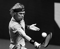 Rotterdam, The Netherlands,7 march  2021, ABNAMRO World Tennis Tournament, Ahoy,  <br /> Finals: Andrey Rublev (RUS) vs. Marton Fucsovics (HUN). Photo: www.tennisimages.com/henkkoster