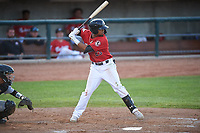Billings Mustangs Reniel Ozuna (23) at bat during a Pioneer League game against the Grand Junction Rockies at Dehler Park on August 15, 2019 in Billings, Montana. Billings defeated Grand Junction 11-2. (Zachary Lucy/Four Seam Images)